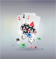 poker gambling chips poster Chips dices cards vector image
