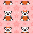seamless background with funny pandas vector image