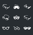 set of glasses icons vector image