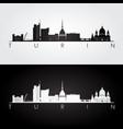 turin skyline and landmarks silhouette vector image