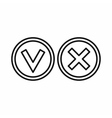 Tick and cross circle shape icon outline style vector image