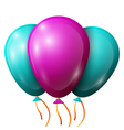 Realistic turquoise purple balloons with ribbons vector image