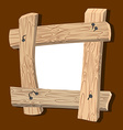 Frame is made of wood Wooden boards and old nails vector image
