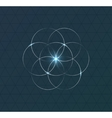 Abstract geometrical symbol on dark blue vector image