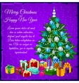 Christmas tree with presents and text vector image