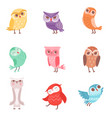 cute cartoon colorful owls set lovely owlets vector image
