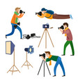 Photographers at work and professional equipment vector image