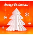 Origami paper Christmas tree on orange background vector image vector image