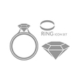 Jewelry Wedding ring Diamond Icon set vector image