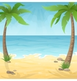 two palm trees on the beach vector image