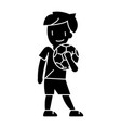 boy with ball icon sign o vector image