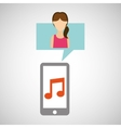 character lady smartphone music application vector image