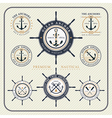 Vintage nautical steering wheel and anchor labels vector image