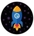 Cartoon rocket in the space vector image
