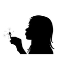 girl blowing the dandelion vector image