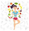 the girl and fruits vegetables vector image