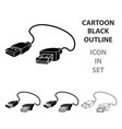 usb cable icon in cartoon style isolated on white vector image
