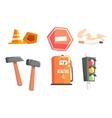 Road Sign Cones Hammers Cigarette Petrol vector image