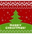 Green knitted Christmas tree applique background vector image