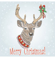 Christmas vintage postcard with Santa deer vector image vector image