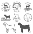 Set of boer goat labels and design elements vector