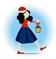christmas girll walking and holding in the hands vector image