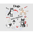 funny dogs sketch vector image