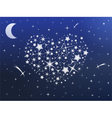 Heart made of stars in the night sky vector image