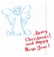 Sketchy Christmas angel vector image