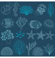 Underwater life design elements vector image