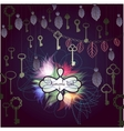 Mystic background with hanging keys and floral vector image vector image