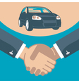 handshake and car on a stand vector image vector image