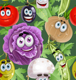 Seamless background with vegetables smiles vector image vector image
