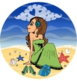 Beautiful woman dreaming of love vector image