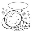 black and white dracula mascot sleeps halloween vector image