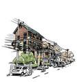 buildings on street sketchbook at thailand vector image