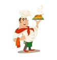 Chief with baked chicken dish vector image