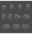 Counting hand signs in thin line style vector image