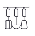 kitchen hanging utensils line icon sig vector image