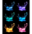 set of splashing water drops black background vector image