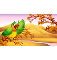A green parrot in an autumn scenery vector image