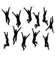 boy silhouette in sitting jumping pose vector image