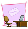 cartoon laptop on table with chair and mail icon vector image