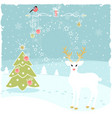 christmas greeting background with fairy deer vector image