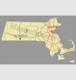massachusetts state map with community assistance vector image