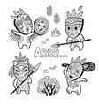 set of stone age tribe people in masks coloring vector image