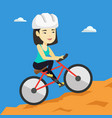 young woman on bicycle traveling in the mountains vector image