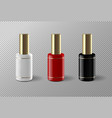 set of realistic nail polish package vector image