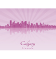 Calgary skyline in purple radiant orchid vector image