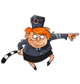 Cartoon funny woman in the form of a traffic cop vector image